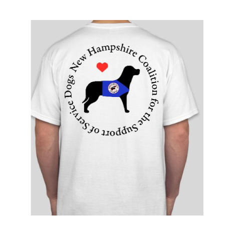 Tshirt with the New Hampshire Coalition for the Support of Service Dogs logo